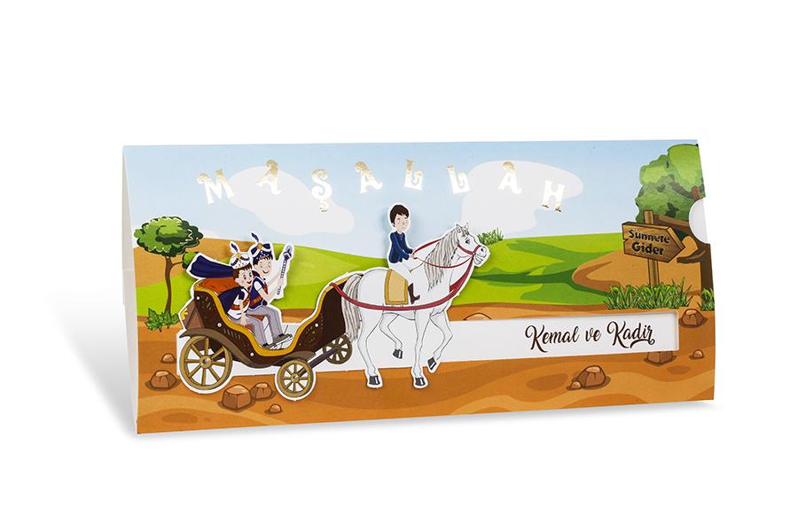 At arabalı 2 çocuklu sünnet davetiyesi