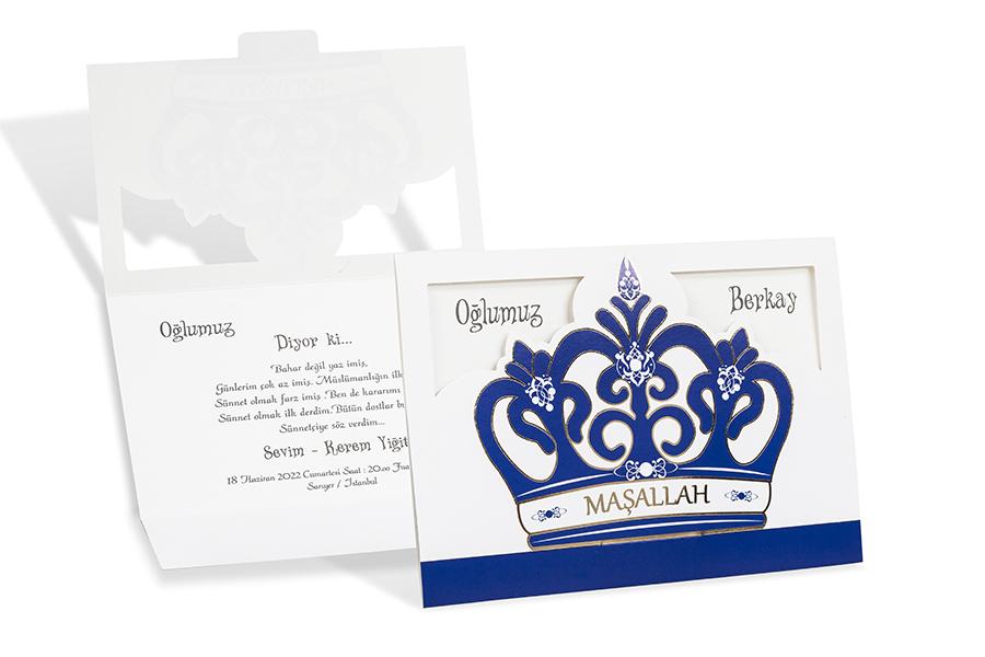 Kaftanlı mavi sünnet davetiyesi
